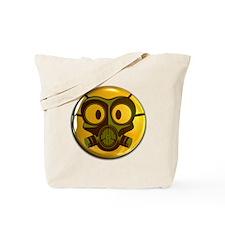 Gas Mask Smiley Face Button Tote Bag
