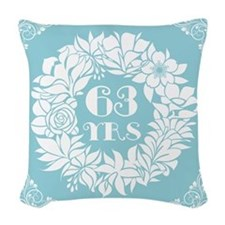 63rd Anniversary Wreath Woven Throw Pillow