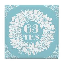 63rd Anniversary Wreath Tile Coaster