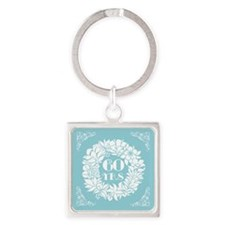 60th Anniversary Wreath Square Keychain