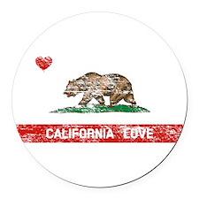 California Love Round Car Magnet