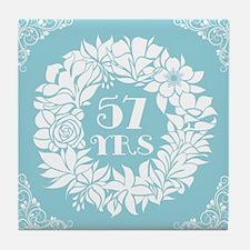 57th Anniversary Wreath Tile Coaster