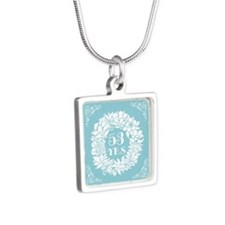53rd Anniversary Wreath Silver Square Necklace