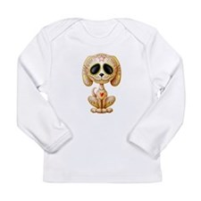 Brown Zombie Sugar Skull Puppy Long Sleeve T-Shirt
