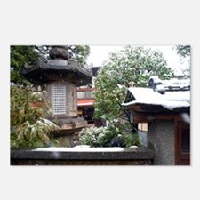 winter japanese garden Postcards (Package of 8)
