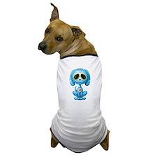 Blue Zombie Sugar Skull Puppy Dog T-Shirt