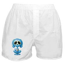 Blue Zombie Sugar Skull Puppy Boxer Shorts