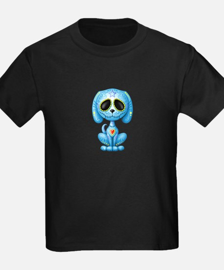 Blue Zombie Sugar Skull Puppy T-Shirt