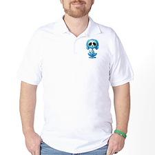 Blue Zombie Sugar Skull Puppy T-Shirt