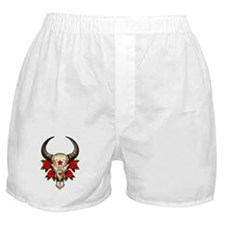 Red Day of the Dead Bull Sugar Skull Boxer Shorts