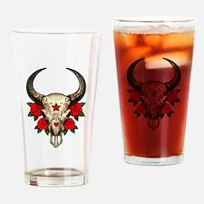 Red Day of the Dead Bull Sugar Skull Drinking Glas