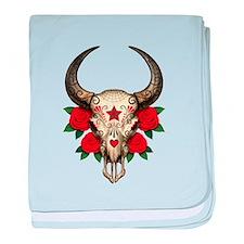 Red Day of the Dead Bull Sugar Skull baby blanket