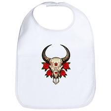 Red Day of the Dead Bull Sugar Skull Bib