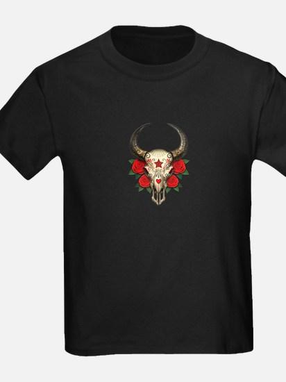 Red Day of the Dead Bull Sugar Skull T-Shirt