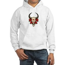 Red Day of the Dead Bull Sugar Skull Hoodie Sweats