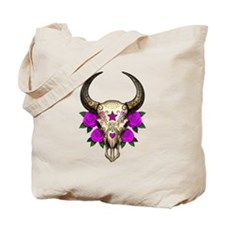 Purple Day of the Dead Bull Sugar Skull Tote Bag