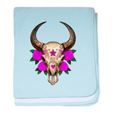 Purple Day of the Dead Bull Sugar Skull baby blank