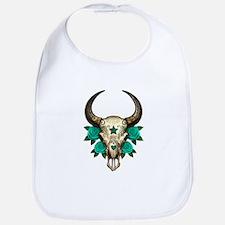 Teal Blue Day of the Dead Bull Sugar Skull Bib
