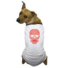 Red Swirling Sugar Skull Dog T-Shirt