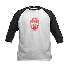 Red Swirling Sugar Skull Baseball Jersey