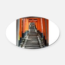 torii gate staircase Oval Car Magnet