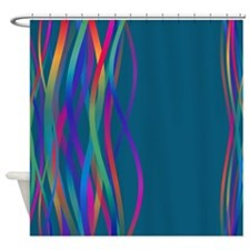 Color Waves Teal Shower Curtain