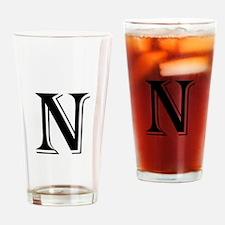 Fancy Letter N Drinking Glass
