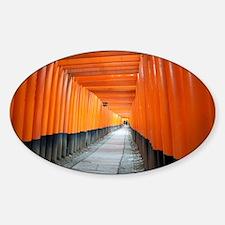 red torii gates kyoto Sticker (Oval)