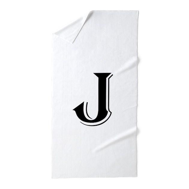 Fancy Letter J Beach Towel by DecorativeLetters