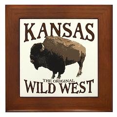 Kansas Buffalo Framed Tile