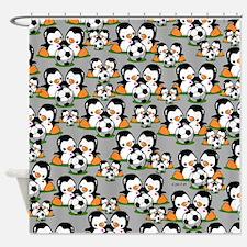 Soccer Penguins Shower Curtain