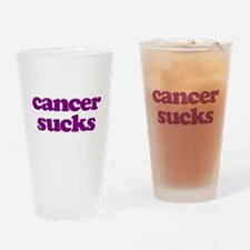 Cancer Sucks Purple Awareness Drinking Glass