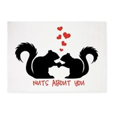 Nuts about you, squirrels in love 5'x7'Area Rug