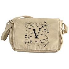 Letter V Leafy Border Messenger Bag