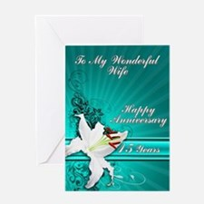 15th Anniversary card for a wife Greeting Cards