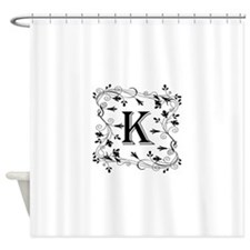 Letter K Leafy Border Shower Curtain