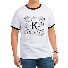 Letter K Leafy Border T-Shirt