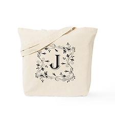 Letter J Leafy Border Tote Bag