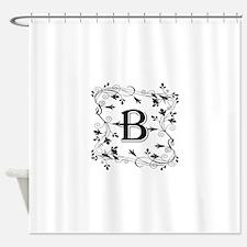 Letter B Leafy Border Shower Curtain