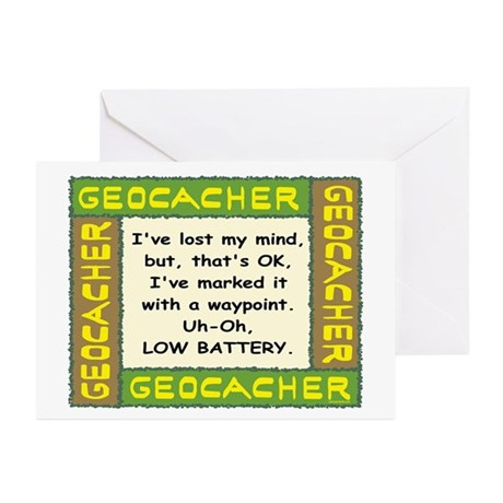 Green Geocacher Lost Mind Greeting Cards (Pk of 10