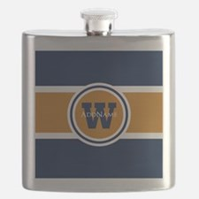 Navy and Orange Custom Monogram Flask