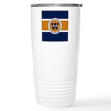 Navy and Orange Custom Travel Mug