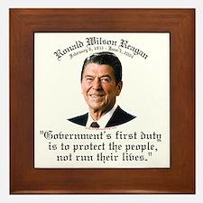 Ronald Reagan Govt's Duty Framed Tile