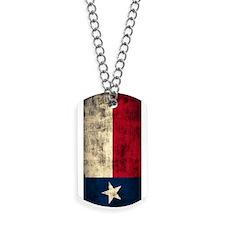 Grunge Flag of Texas Dog Tags