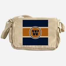 Navy and Orange Custom Monogram Messenger Bag