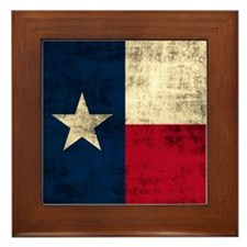 Grunge Texas Flag Framed Tile