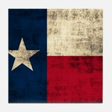 Grunge Texas Flag Tile Coaster