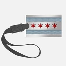 Chicago Flag Brushed Metal Luggage Tag