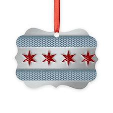 Chicago Flag Brushed Metal Ornament