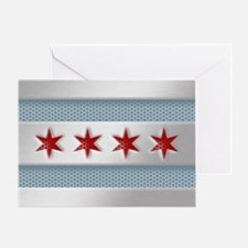 Chicago Flag Brushed Metal Greeting Cards